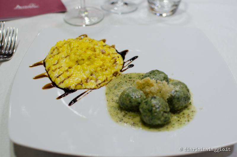 I canederli (affiancati da un meraviglioso risotto con zafferano e speck)