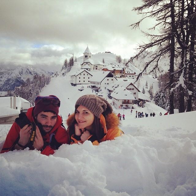 Inizio dell'anno immersi fino ai gomiti nella neve di Tarvisio, sul Monte Lussari