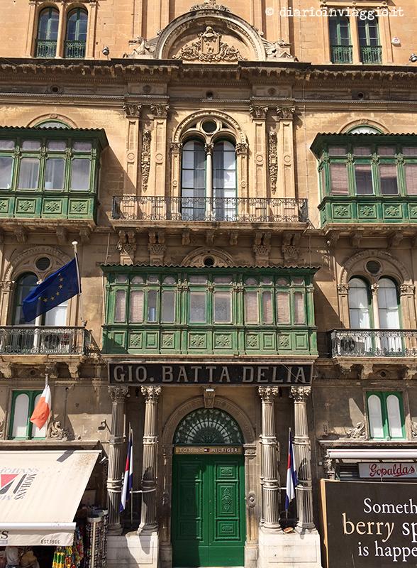Importanti facciate di palazzi a La Valletta, Malta