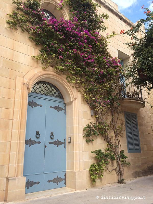 Porte tenui e bouganville a Mdina