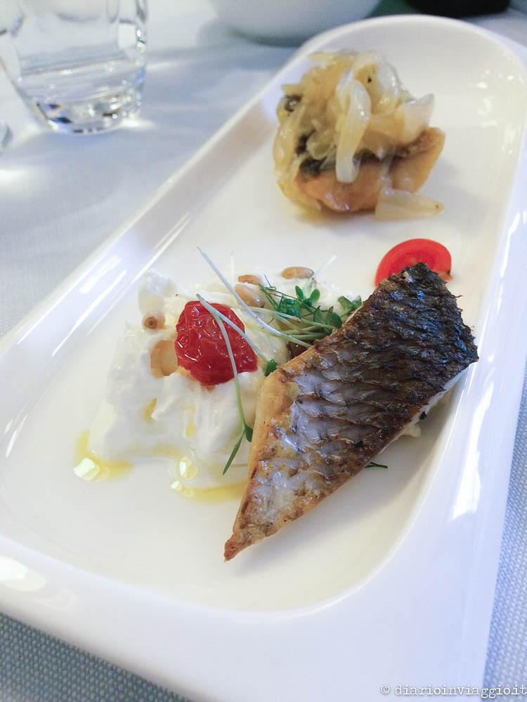 Burratina con filetto di pesce e assaggino in saor - Ristorante Zero Miglia, Grado